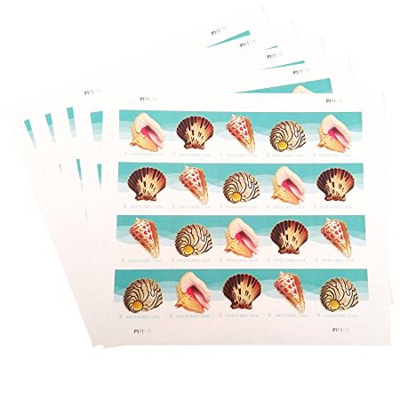 POSTCARD Postage Stamps Seashells 5 Sheets of 20 USPS Forever Sand Sun Beach Fun Ocean (100 Stamps)