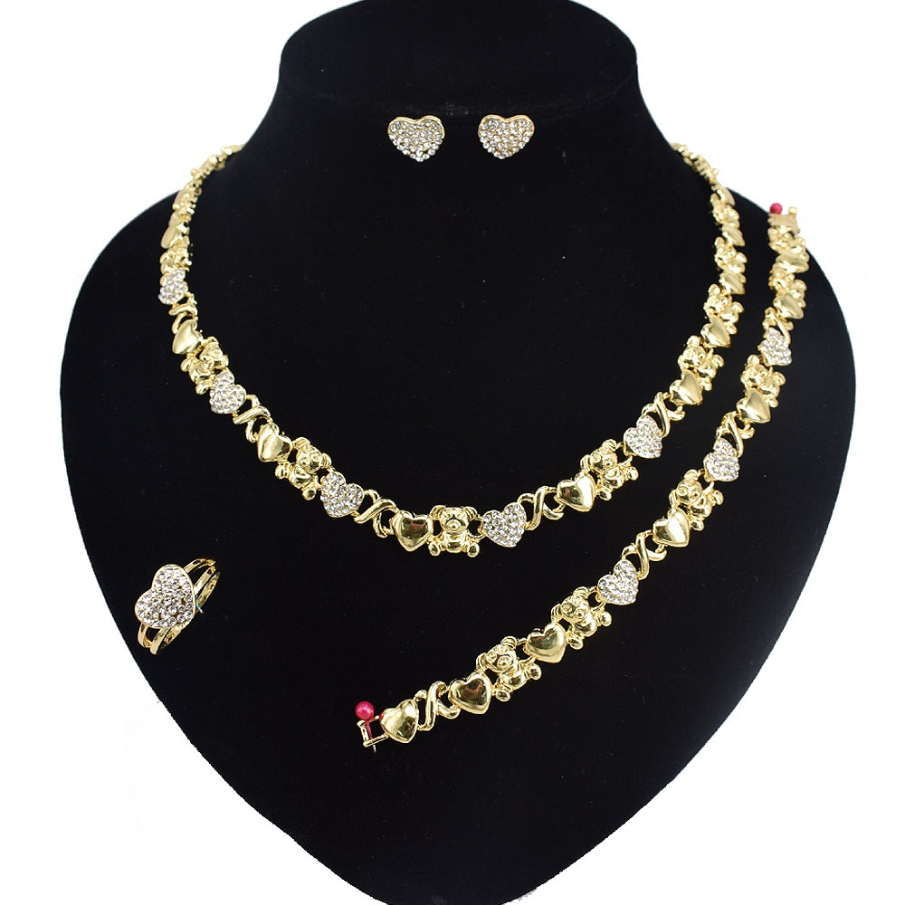 HUGS /& KISSES Teddy Bear Necklace with Bracelet Earrings Ring I Love You Jewelry Set 18K Gold Filled XOXO Necklace Set