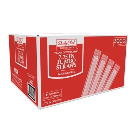Daily Chef Jumbo Wrapped Straws, 7.75