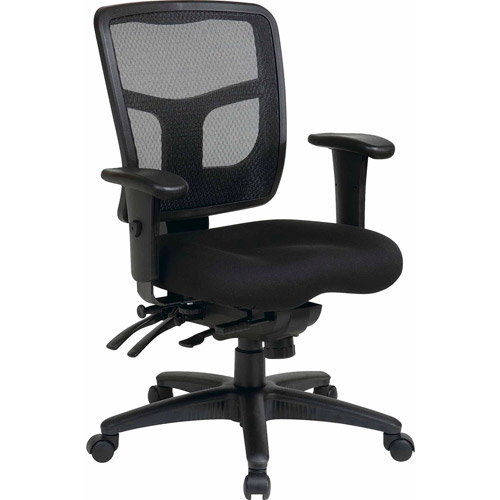 Office Star ProGrid Mid-Back Manager Chair, Black