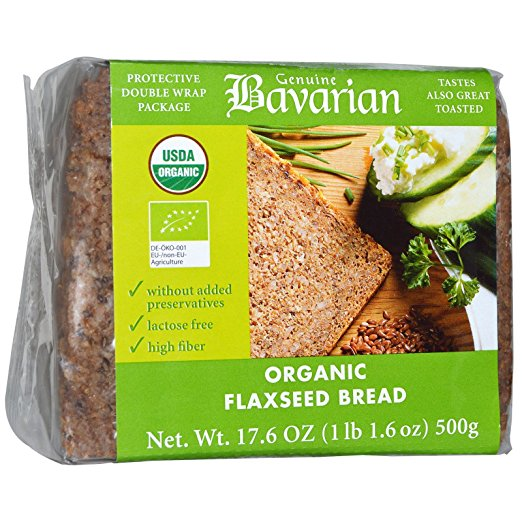 Bavarian Breads, Organic Flaxseed Bread, 17.6 oz pack of 2 by