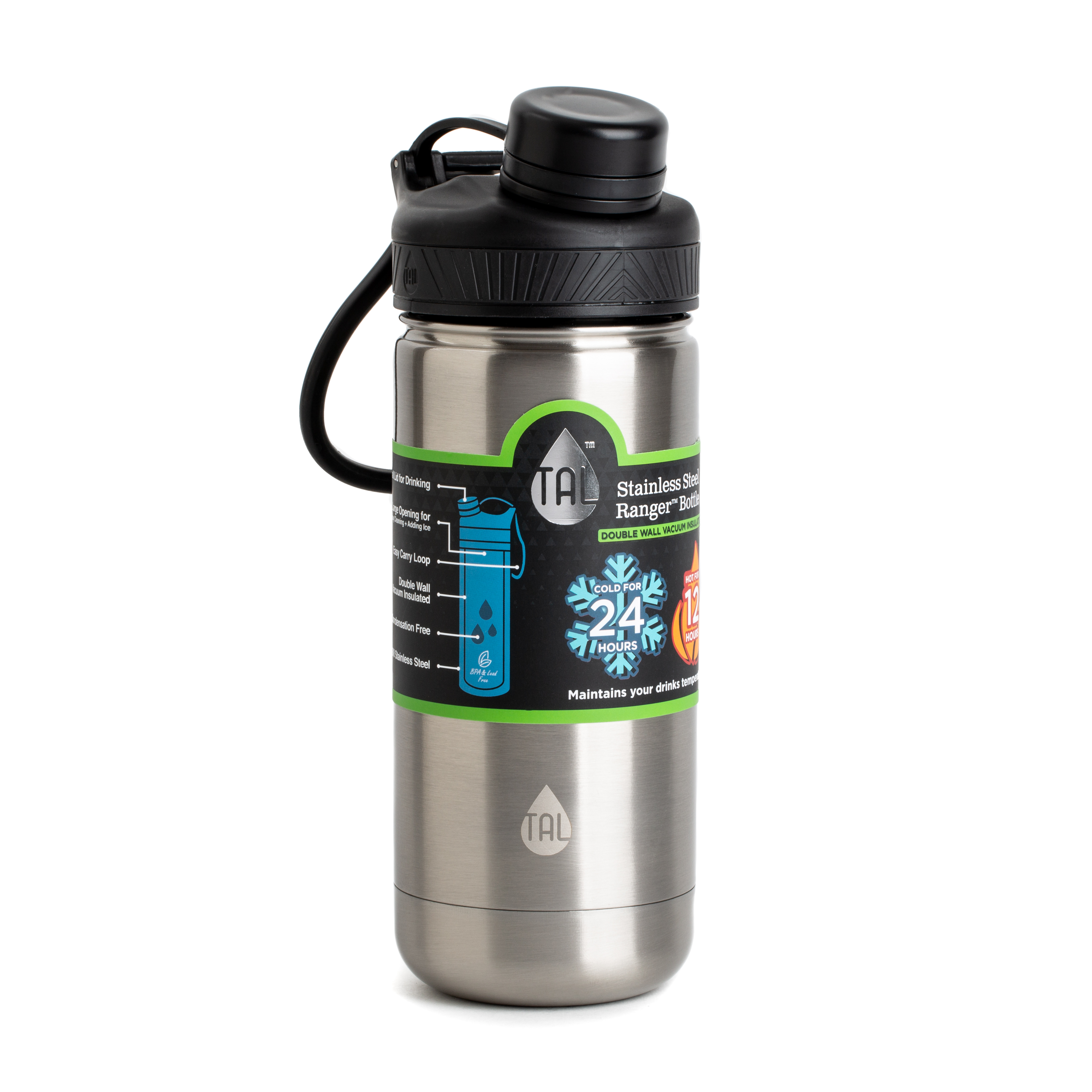 TAL 18oz Double Wall Vacuum Insulated Stainless Steel Ranger™ Pro Black
