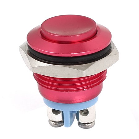 M16 Metal Pushbutton Switch Panel Mount Momentary Type Red Raised