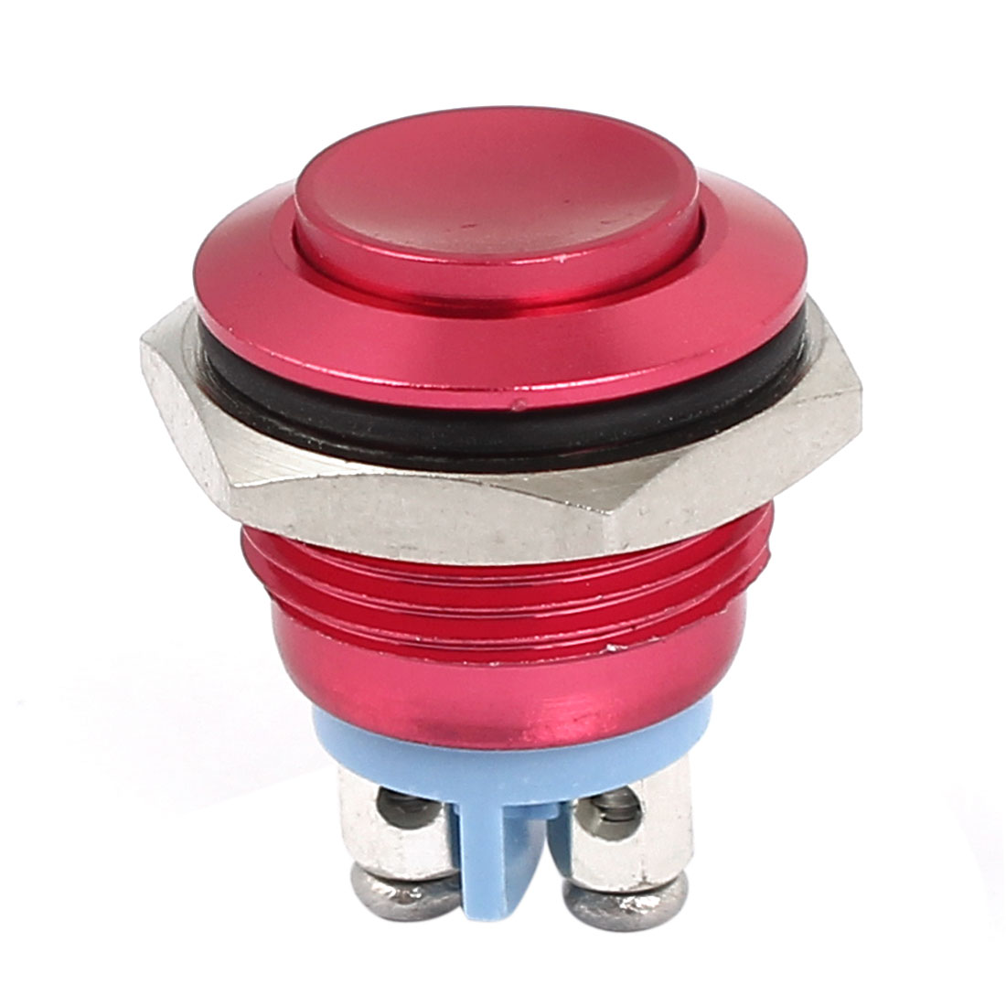 M16 Metal Pushbutton Switch Panel Mount Momentary Type Red Raised Head