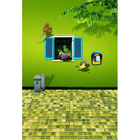 MOHome Polyster 5x7ft Girl Photography Studio Backdrops Toddler Photo Shoot Background 3D Birds Window Green Wall Mosaic Floor Tiles Children Kid Artistic Portrait Scene Video Props Digital