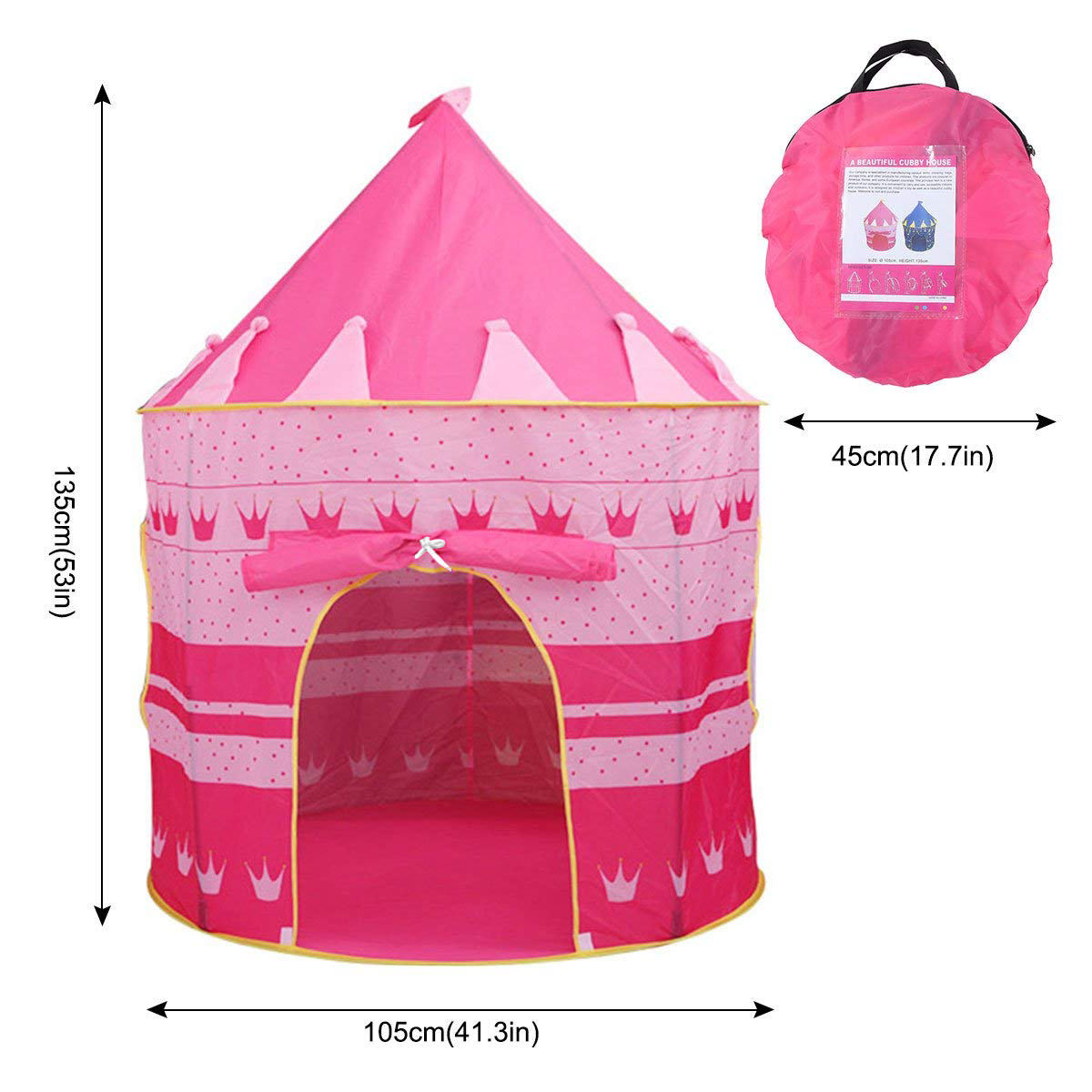 Magicfly Princess Castle Play Tent Children Playhouse Toy Tents For Kids S Indoor Outdoor Garden Portable Foldable Pink