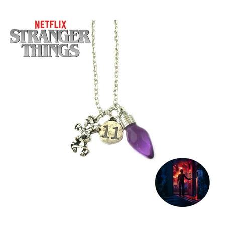 Stranger Things Necklace Pendant - 11, Purple Light, Demogorgon - TV Series Show Cosplay Jewelry by Superheroes](Light Jewelry)