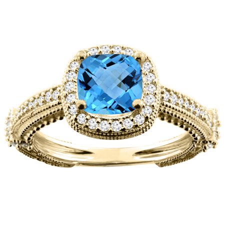 10K Yellow Gold Natural Swiss Blue Topaz Ring Cushion 7x7mm Diamond Accent, size