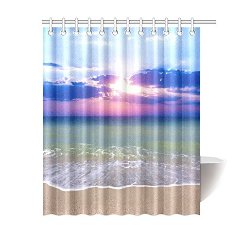 GCKG Sunset Sea Beach Nature Island Coastal Shower Curtain
