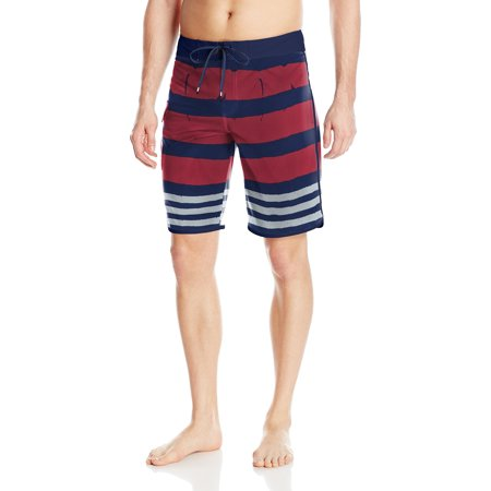 RVCA NEW Red Navy Mens Size 30 Trunks Striped Drawstring