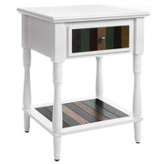 Benjara BM195849 Uniquely Designed Wooden Side Table with Plank Style Bottom Shelf & Drawer - White - 17.7 x 19.7 x 26.6 in.