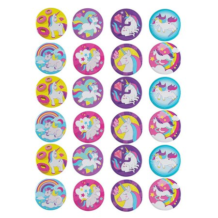 Round Safety Pinback Button (Pinback Buttons - 24-Pack Rainbow Unicorn Round Button Pins in 8 Designs for Kids Birthday Party Favors, Unicorn Lovers, 2.25 inches)