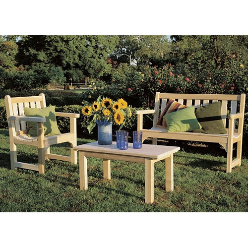 Rustic Natural Cedar Furniture English 3 Piece Bench Seating Group
