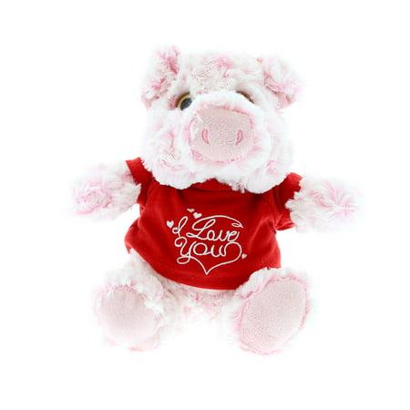 Sitting Pig (Super Soft Plush Dollibu Sitting Pig I Love You Shirt Valentines Plush)