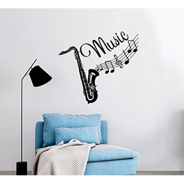 Saxophone With Music Notes Wall Decals Removable Music Wall Stickers Peel and Stick White Background Art  20 x 48
