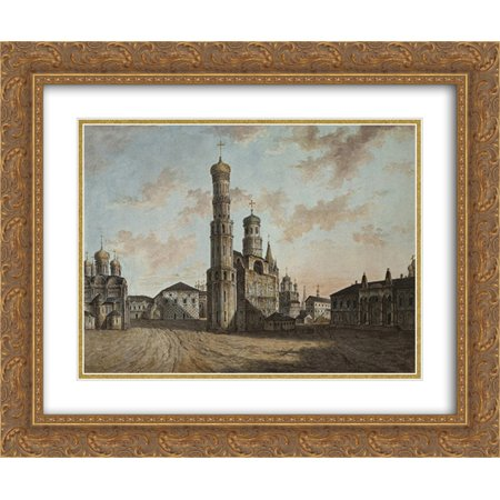 Fyodor Alekseyev 2x Matted 24x20 Gold Ornate Framed Art Print 'Ivan the Great Bell Tower and Chudov Monastery in the Kremlin'