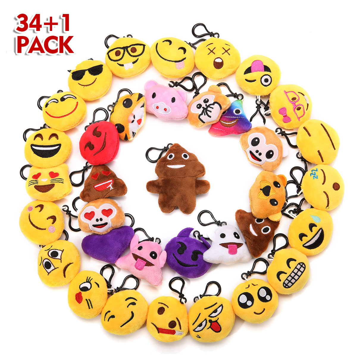 34Pack Emoji Keychain, Emoji Party Favors Mini and Cute Plush Pillows, Emoji Party Supplies for Kids Christmas, Birthday, Classroom Rewards,9cmx6.4cm