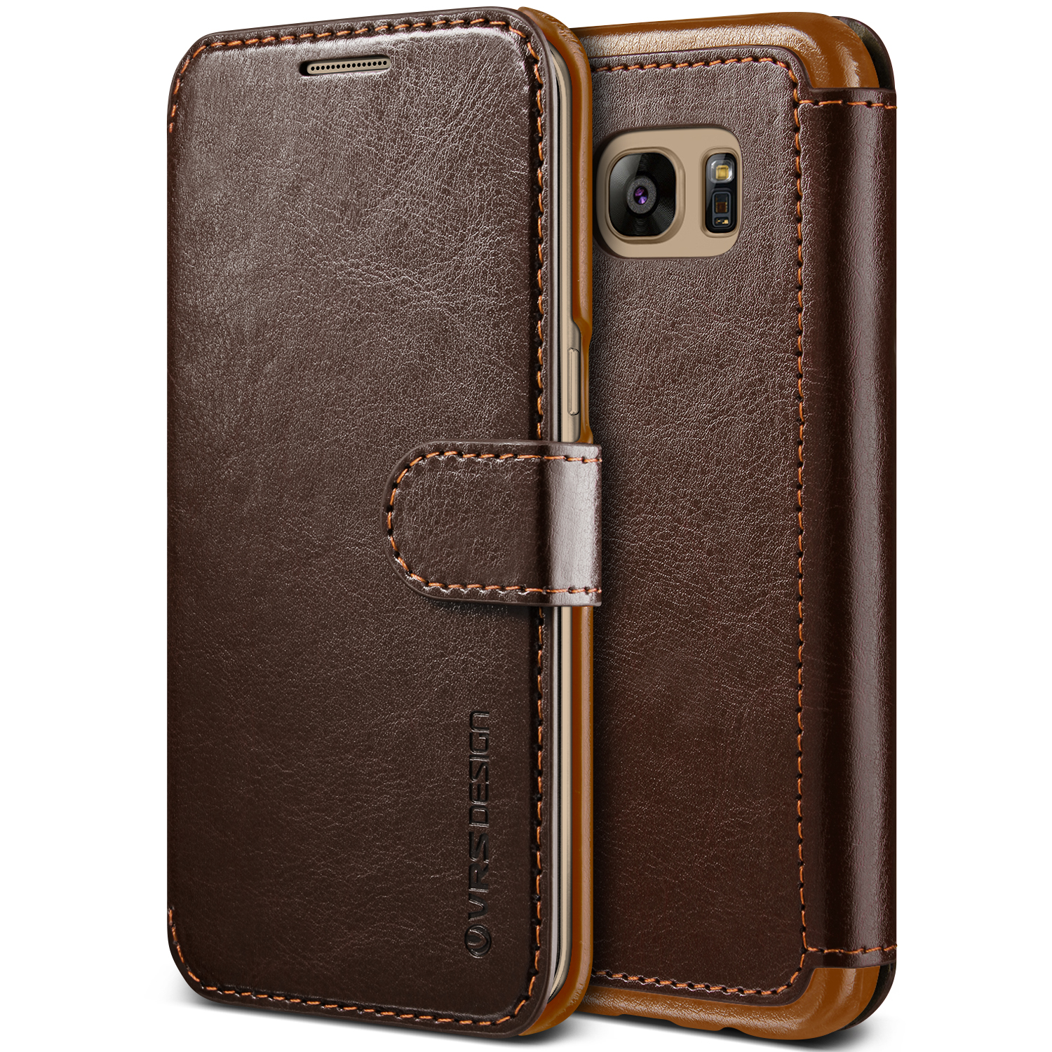Samsung Galaxy S7 Edge Case Cover | Premium PU Leather Wallet with Card Slots | VRS Design Layered Dandy for Samsung Galaxy S7 Edge