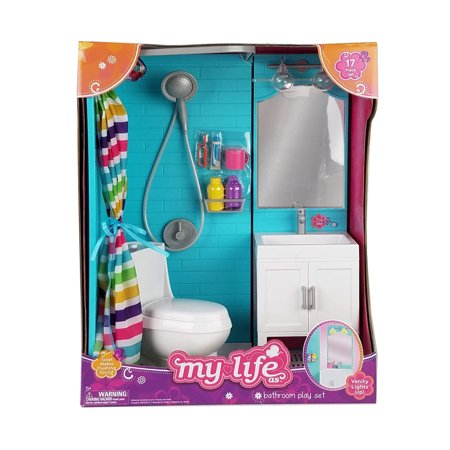 My Life As Bathroom Play Set for 18u0022 Dolls, 17 Pieces