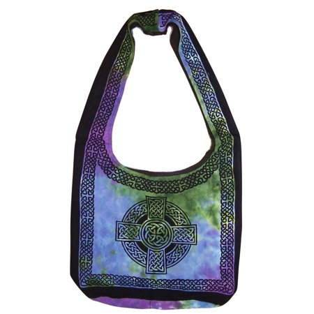 Tie Dye Bags (Cotton Celtic Hobo Bag Flat Bottom 15 x 12 Tie)