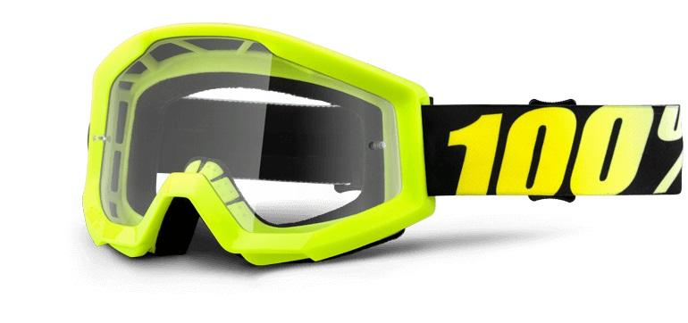 100/% Strata MINI MX Goggles Yellow SMALL Kids Youth Childrens Motorbike