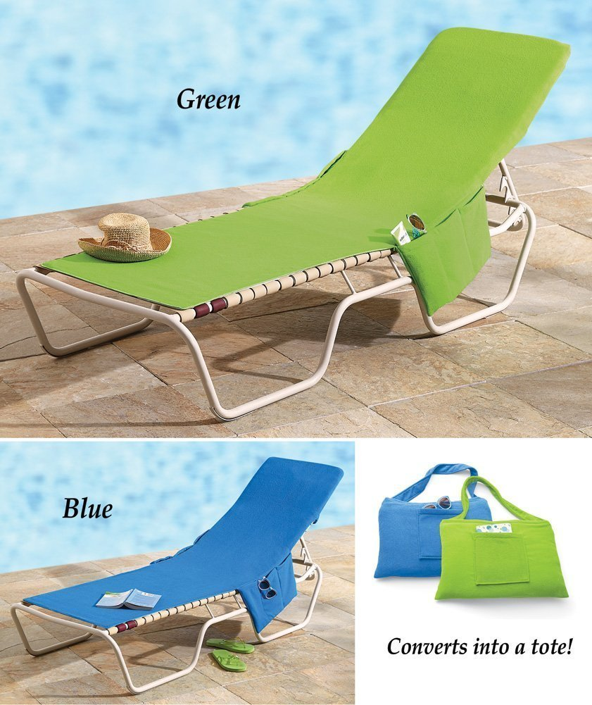 Green 2 In 1 Terry Cloth Beach Pool Lounge Chair Cover Tote Convenient  Pocket