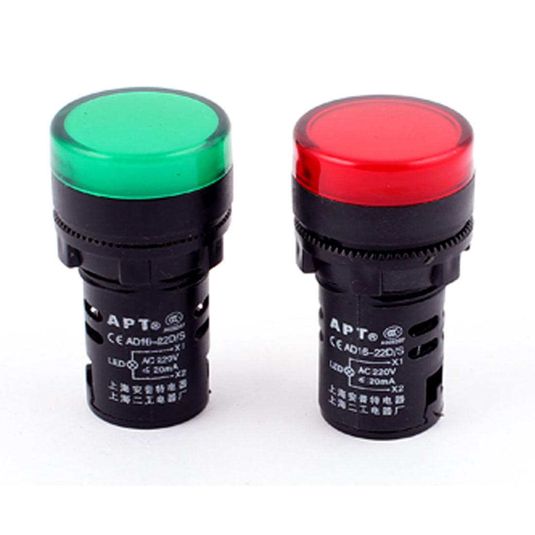 2 Pcs Plastic LED Turn Indicator Signal Neon  Lamp Green Light AC 220V
