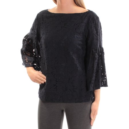 Lauren Ralph Lauren Womens Lace Overlay Bell Sleeves Blouse