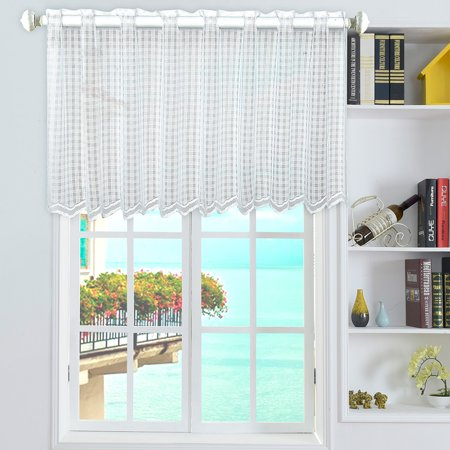 "Valance Grid Style Short Sheer Curtains Rod Pocket Mesh Window Sheer Drapes for Kitchen Balcony Home 18""X59"""
