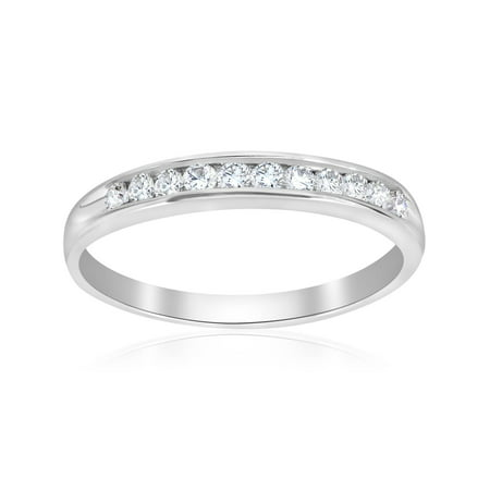 Pompeii3 1/4ct Diamond 14k White Gold Wedding Stackable Ring Womens Channel Set Band
