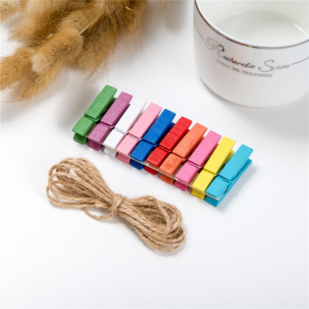 Wall Deco DIY Creative Mini Paper Photo Frame Mini Colored Clothespins Twine