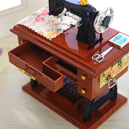 Iuhan Vintage Music Box Mini Sewing Machine Style Mechanical Birthday Gift Table Decor