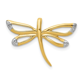 Lex /& Lu 14k Yellow Gold w//Rhodium D//C and Polished Dragonfly Pendant