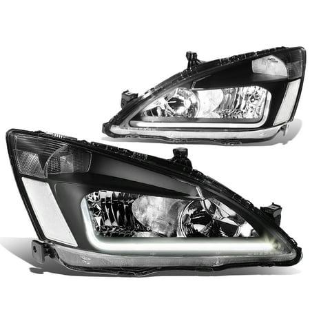 For 03-07 Honda Accord 7th Gen UC1 Pair of Black Housing Clear Corner Headlights + LED DRL 04 05 06 ()