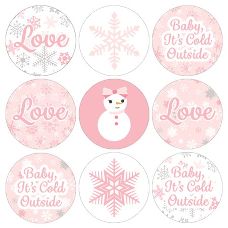 Winter Wonderland Party Stickers, 216ct - Pink Snowflake Winter Wonderland Decorations Snowman Party Supplies for Baby Its Cold Outside Baby Shower or Bridal Shower - 216 Count Stickers