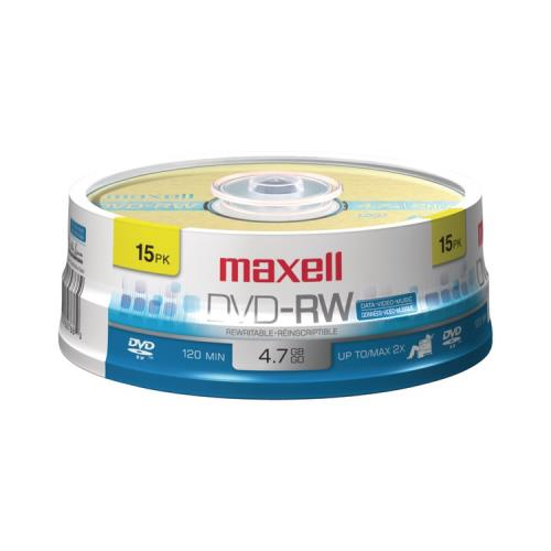 Maxell 635117 4.7GB DVD-RW, 15-Count Spindle