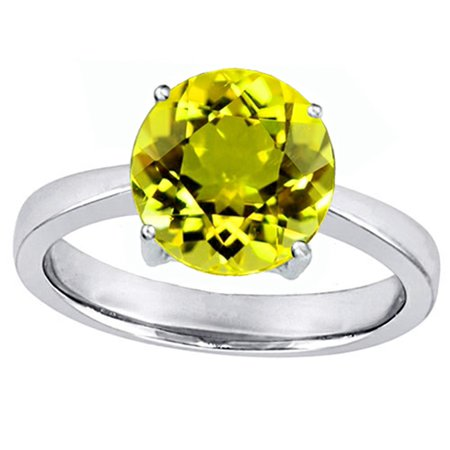 Star K Large Solitaire Big Stone Ring with 10mm Round Simulated Yellow Sapphire in Sterling Silver Size (Big Round Com)