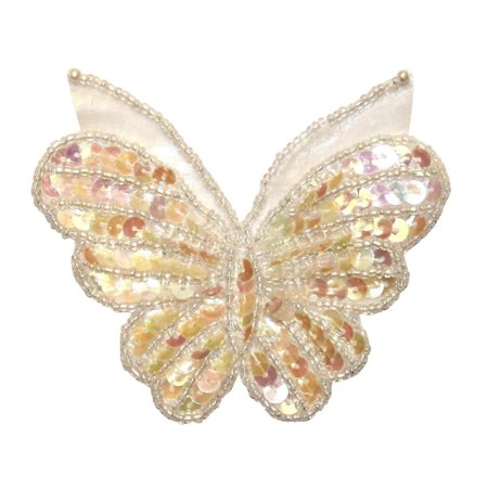 ID 2187 Beaded Sequin Butterfly Patch Craft Insect Symbol Bug Iron On Applique