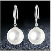 Silver Fish Hook Earring Dangle White Shell Faux Pearl Drop Earrings