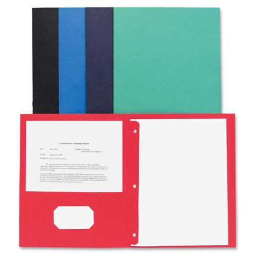 "Business Source Two Pocket Folder - Letter - 8.50"" X 11"" - 100 Sheet Capacity - 3 X Prong Fastener - 2 Pockets - Leatherette - Assorted - 25 / Box (BSN78531)"