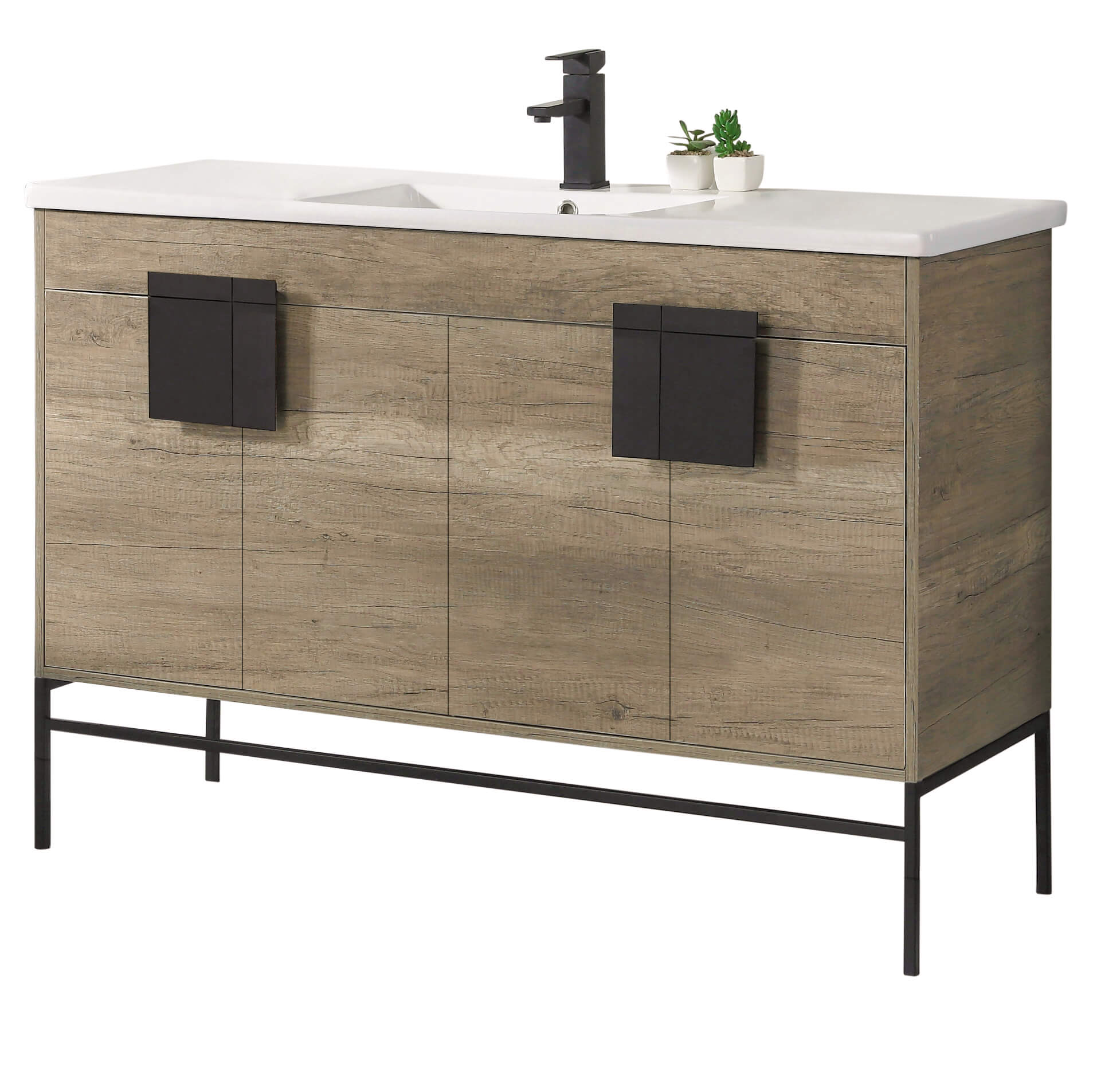 Modern Grey Bathroom Vanity Set Black Matte Hardware Vireous China Sink Top Walmart Com Walmart Com