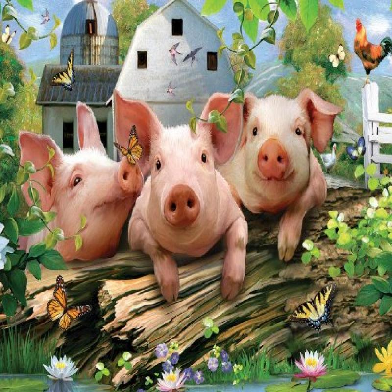 White Mountain Puzzles Three Little Pigs - 550 Piece Jigs...