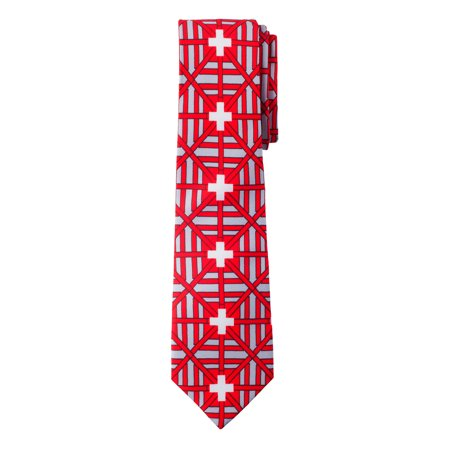 Jacob Alexander Switzerland Country Flag Colors Men's Necktie - Red Grey Design with Vertical White Swiss Cross -