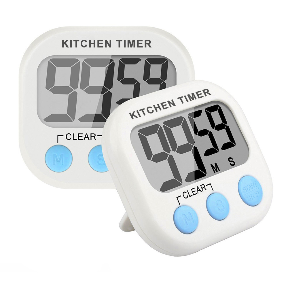 2 packs Digital Kitchen Timer Count Down Up Clock Alarm and Stopwatch with Loud Ringer/ Large LCD Display/ Magnetic Backing and Foldout Stand (White, Battery Included)
