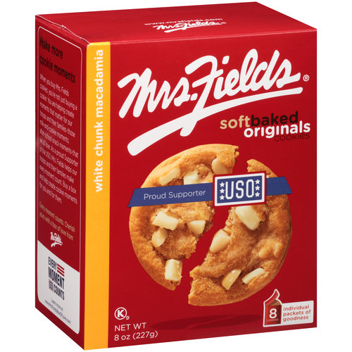 Mrs. Fields White Chunk Macadamia Cookies, 8 oz