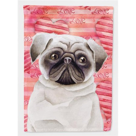 Carolines Treasures CK1392CHF Pug Love Flag Canvas - House Size - image 1 de 1