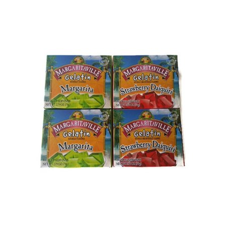 Margaritaville Gelatin Jello 2 Margarita, 2 Strawberry Daiquiri 2.79oz (Pack of (Daiquiri Vinyl)