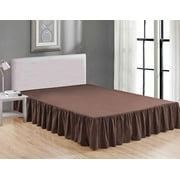 Sheets & Beyond Wrap Around Solid Luxury Hotel Quality Fabric Bedroom Dust Ruffle Wrinkle and Fade Resistant Gathered Bed Skirt 14 Inch Drop (Twin, Brown)