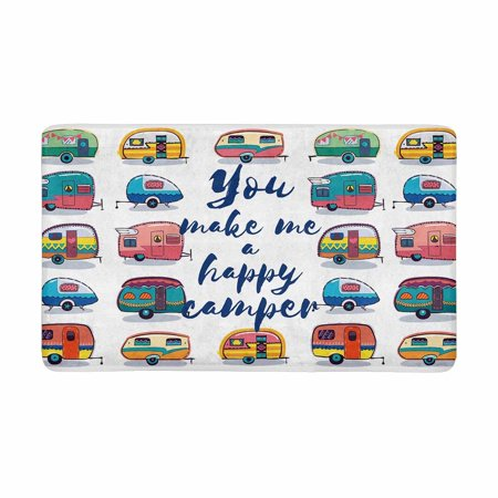 MKHERT Funny You Make Me Happy Camper Inspirational Quote with Retro Caravans Doormat Rug Home Decor Floor Mat Bath Mat 30x18 inch ()