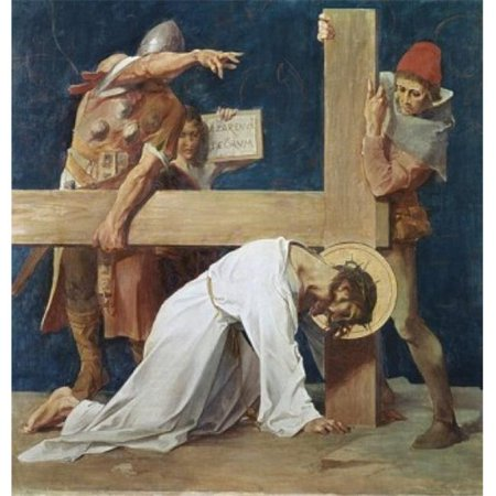Posterazzi SAL900294 Jesus Falls the Second Time 7th Station of the Cross 1898 Martin Feuerstein 1856-1931 French Saint Anna Church - 18 x 24 in.